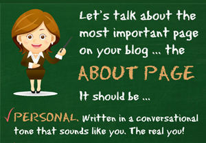 Guest speaker in a blogging class, where I shared tips on creating an About page and answered Qs online